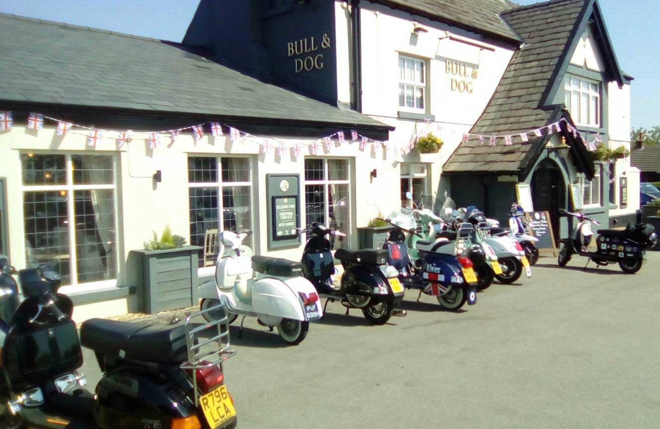 Scooters outside pub pic