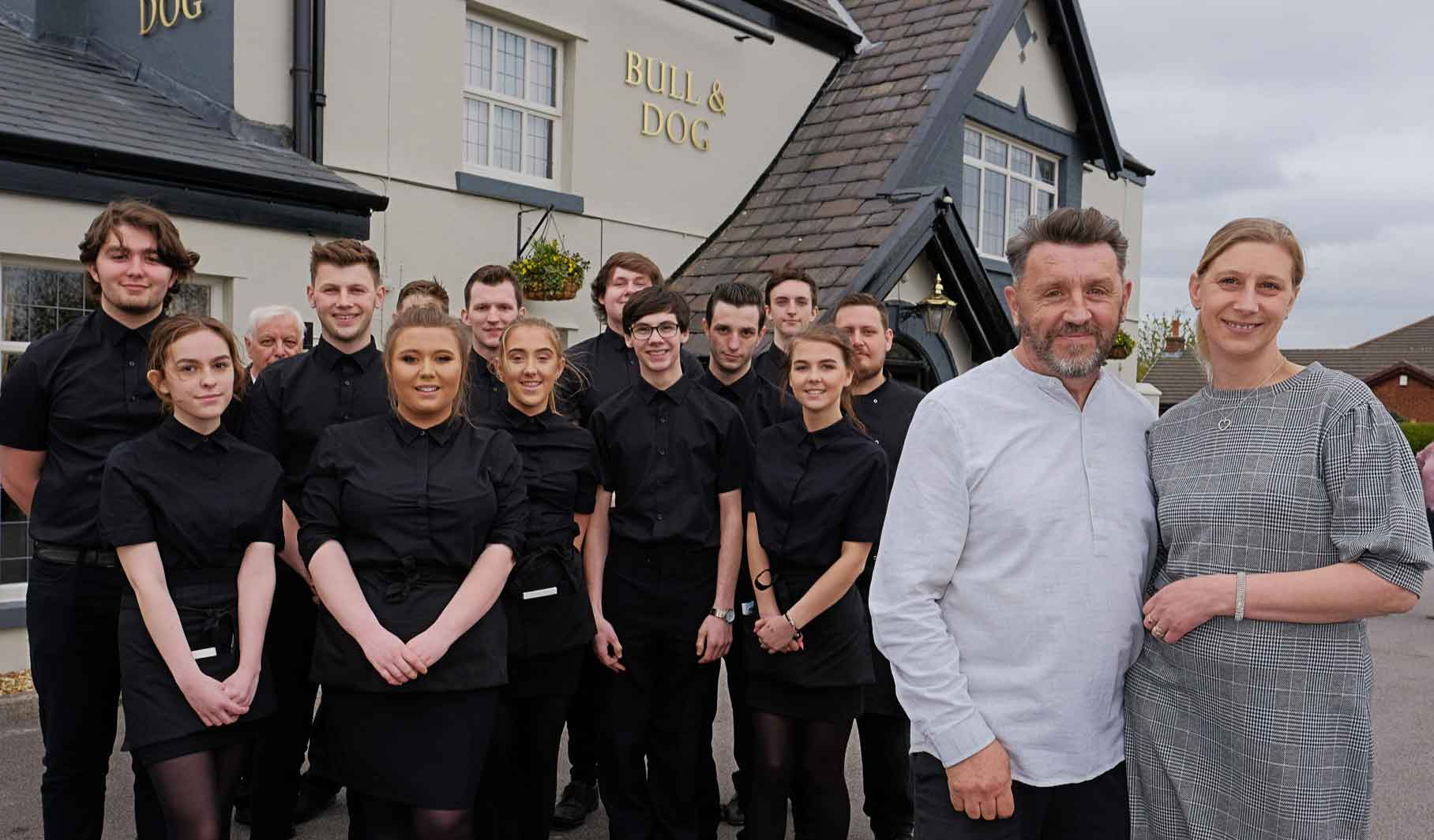The team at the Bull and Dog waiting to greet you.